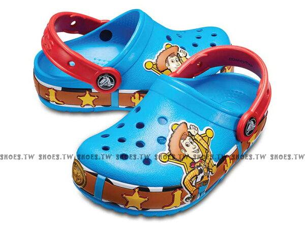 Shoestw【205002-456】CROCS卡駱馳鱷魚輕便鞋拖鞋涼鞋LED發光玩具總動員胡迪寶藍紅童鞋款