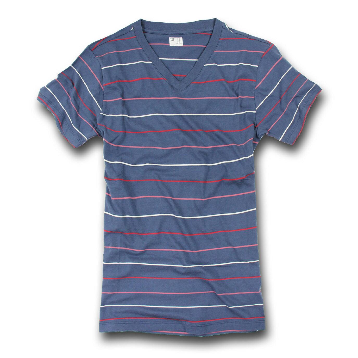 美國百分百【全新真品】GAP T恤 T-SHIRT 短袖 上衣 V領 條紋 藍色 紅 白 純棉 S號 男 F212