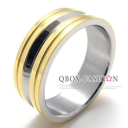 《 QBOX 》FASHION 飾品【W10020166】精緻個性簡約金色雙環316L鈦鋼戒指/戒環