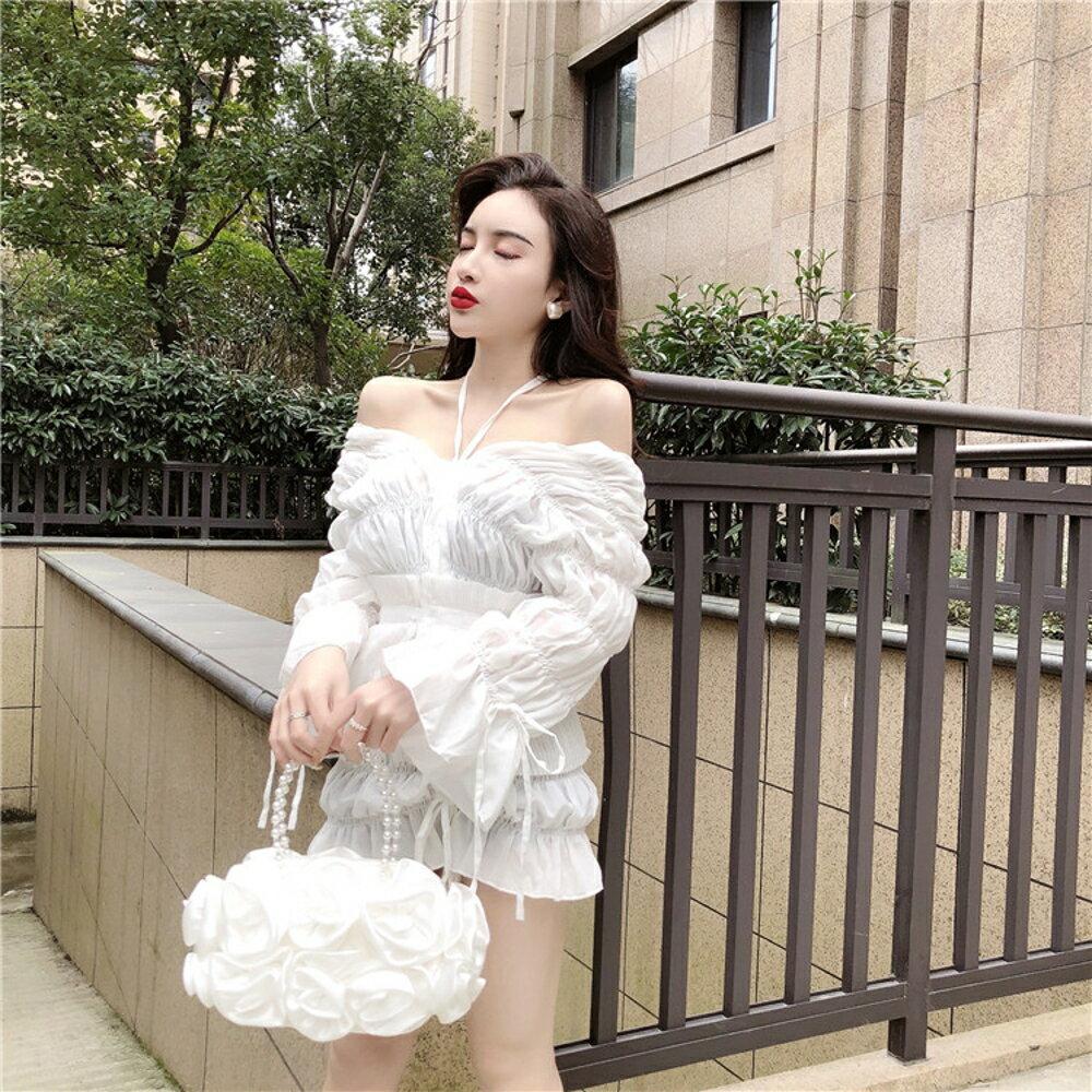 一字領洋裝 裙子女裝氣質露肩鬆緊抽繩長袖連衣裙潮 - 都市時尚