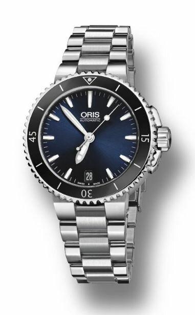 ORIS 豪利時 Aquis 時間之海系列潛水機械腕錶 0173376524135-0781801P 藍 銀 36mm
