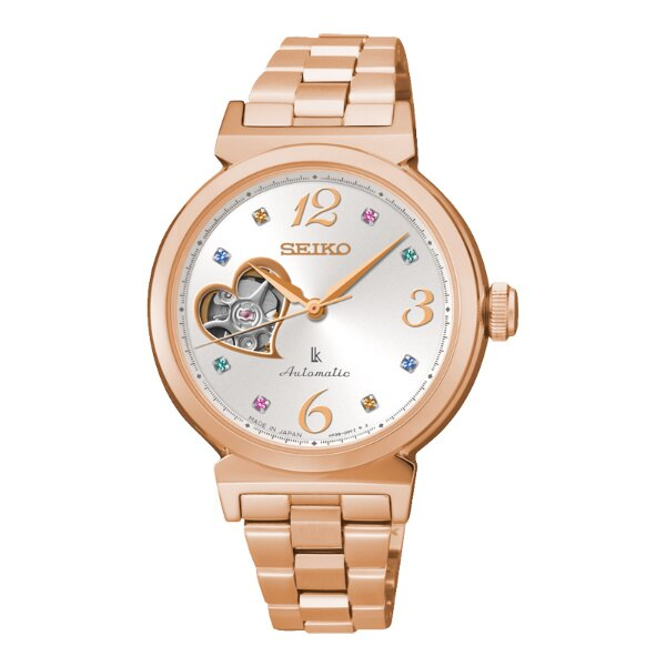 Seiko Lukia 4R38-00N0L(SSA888J1)玫瑰金蜜糖甜心鏤空機械腕錶/白面34.6mm