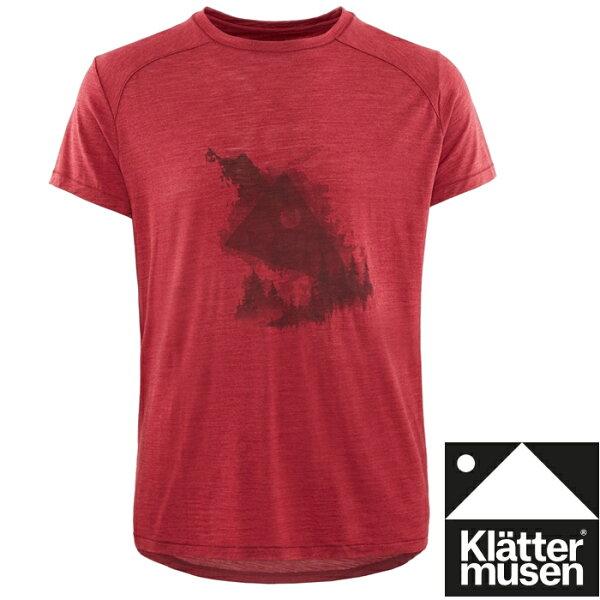 Klattermusen攀山鼠登山排汗衣美麗諾羊毛+絲短袖T恤EirForest男KM20618M暗紅色BR