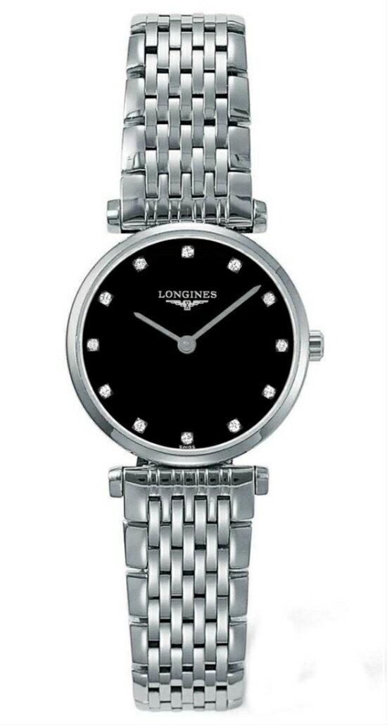 LONGINES L42094586嘉嵐石英超薄優雅真鑽腕錶/黑面24mm