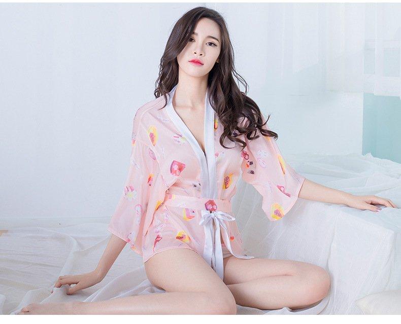 W5637 新款日式緞面雪紡柔軟情趣內衣 可愛和服罩衫和風七分袖睡袍