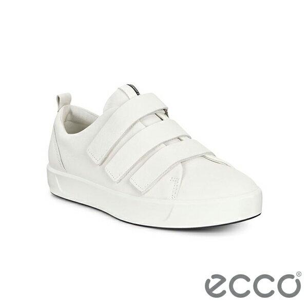【ECCO 新品上市85折│全店免運】ECCO SOFT 8 LADIES 時尚皮革魔鬼氈休閒鞋/ 白-44051301007