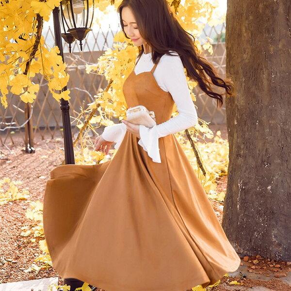 灰姑娘[98632-QF]優雅純色顯腰A字裙擺韓款背心裙~秋裝新款~