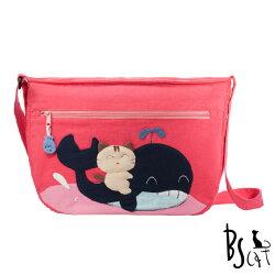 【ABS貝斯貓】可愛貓咪拼布 肩背包 斜揹包(粉色88-214) 【威奇包仔通】
