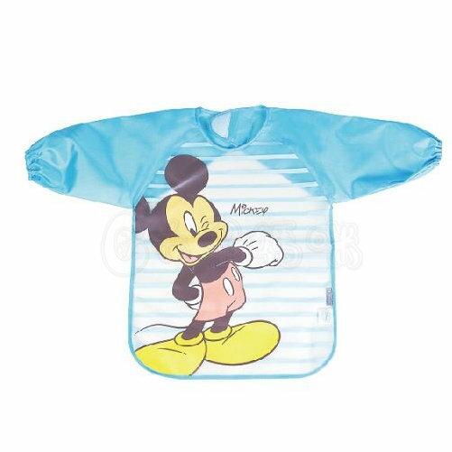Disney米奇長袖防水圍兜藍【六甲媽咪】