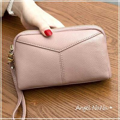 真皮手拿包-牛皮女士長皮夾長夾-附手腕帶皮包錢夾零錢包手機包女包女夾  AngelNaNa【MA0212】