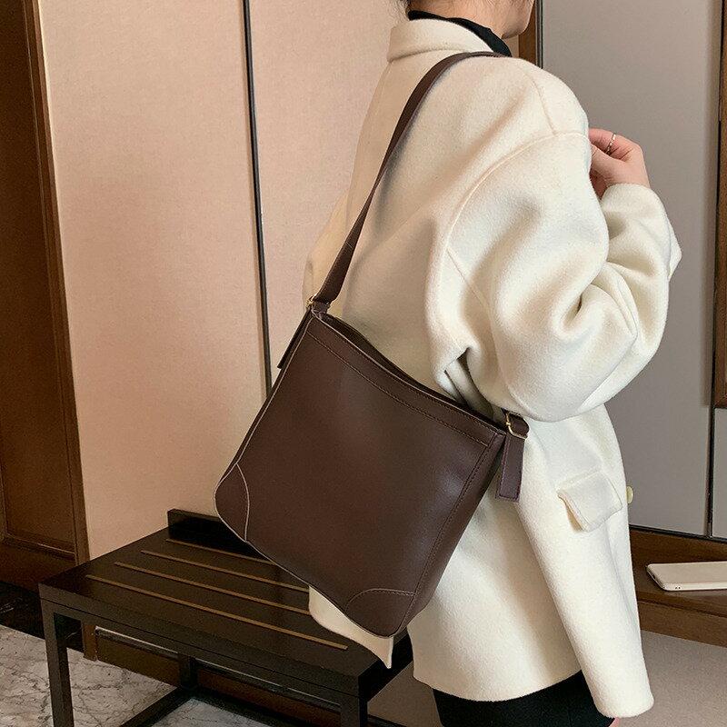 韓版時尚大容量包包洋氣潮女托特包2021春季新款單肩斜挎水桶包