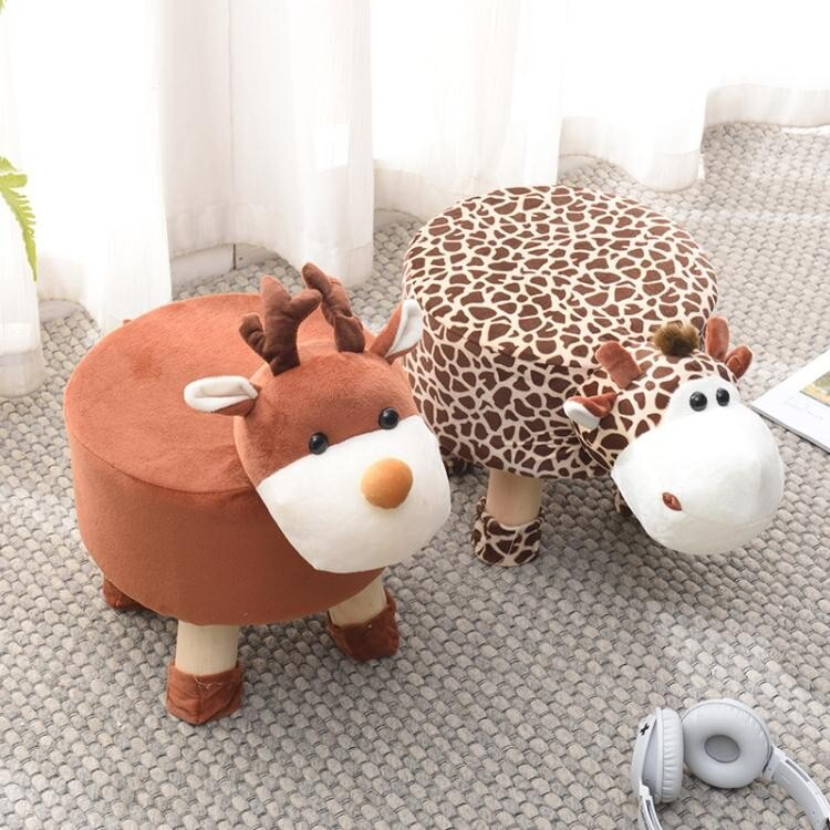 動物換鞋凳子家用坐墩寶寶可愛卡通沙發圓凳創意兒童小板凳矮椅子   ATF 0