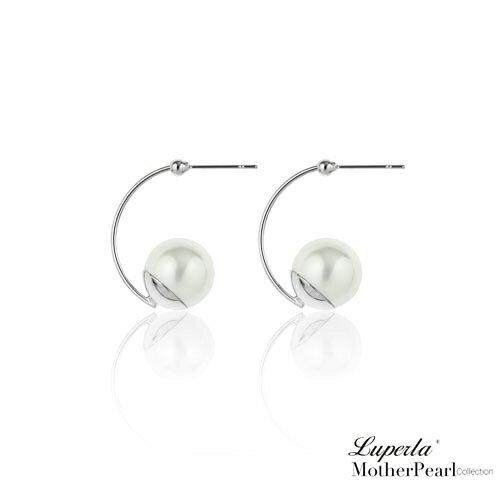 大東山珠寶 經典燦銀 金屬風南洋貝寶珠耳環 3
