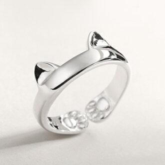 《波卡小姐》韓國貓咪戒指 兩戴可調式純銀貓掌肉球尾戒 抗過敏 貓奴最愛平價飾品 生日情人節禮物