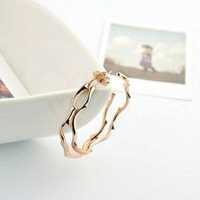 玫瑰金耳環925純銀耳飾~簡約 樹子紋路情人節生日 女飾品2色73gs129~ ~~米蘭