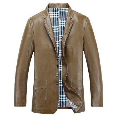 皮衣夾克外套-秋季翻領純色單排扣男夾克3色73pn17【獨家進口】【米蘭精品】 0