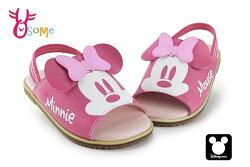 米妮拖鞋 小童 迪士尼 MIT 鬆緊帶涼拖鞋 F5281#粉紅◆OSOME奧森鞋業
