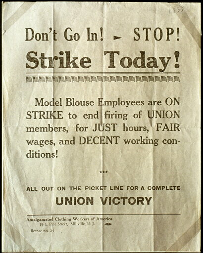 Nj Strike Poster 1935 Namalgamated Clothing Workers Poster Used During A Strike At Model Blouse Co Millville New Jersey 1935 Poster Print by (18 x 24) 659c84b15960a29ce37808a57704d5fb