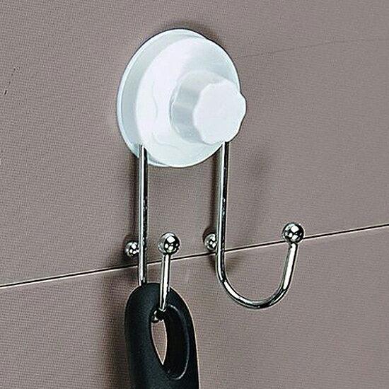 ?MY COLOR?不鏽鋼掛勾支架 廚房 衛浴 懸掛 黏貼 壁掛 裝飾 收納 加厚 晾乾 雙鉤 毛巾【Q256】