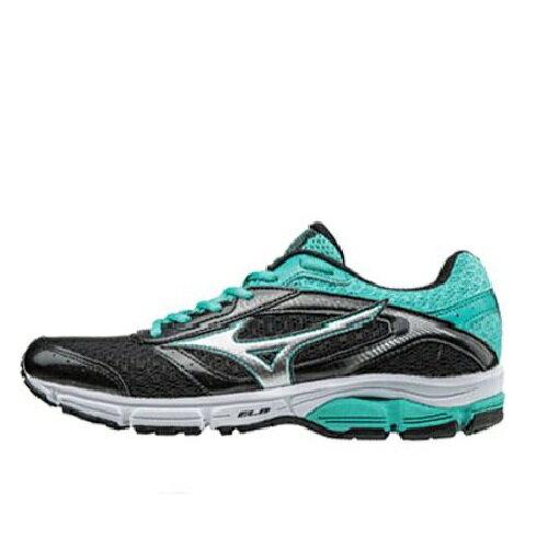 運動世界:MIZUNOWAVEIMPETUS4女鞋慢跑耐磨輕量透氣黑綠銀【運動世界】J1GD161305【單筆消費滿1000元全會員結帳輸入序號『CNY100』↘折100