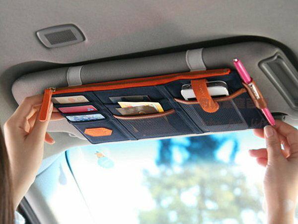 約翰家庭百貨》【Q318】多功能汽車遮陽板雜物收納袋 卡片手機票據套夾收納包 遮陽板置物袋 隨機出貨