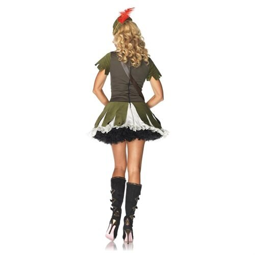 Leg Avenue 83774 3PC.Thief of Hearts,peasant dress,hat w/feather accent,and satchel MED/LGE OLIVE/CR 1