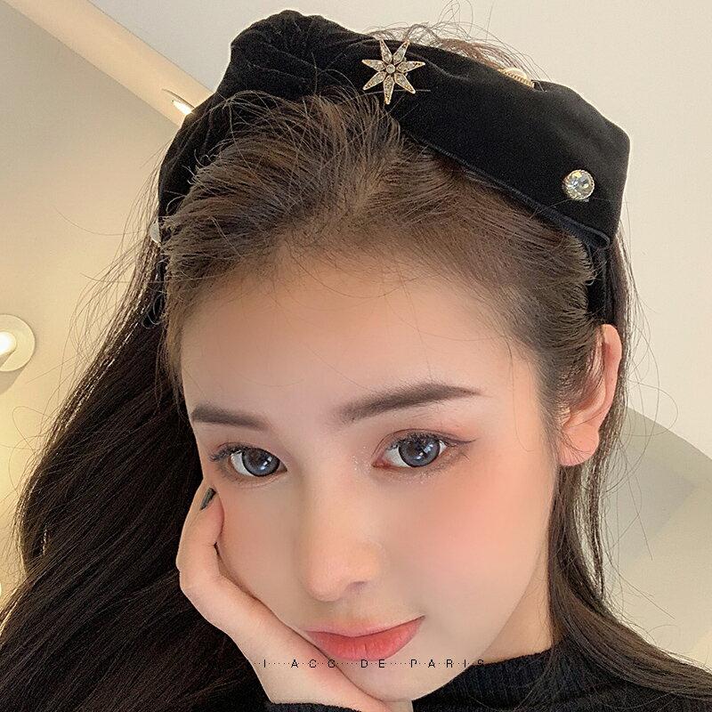 髮箍 女寬邊髮夾公主風頭飾蝴蝶結髮卡網紅2021年新款髮飾夏天頭箍