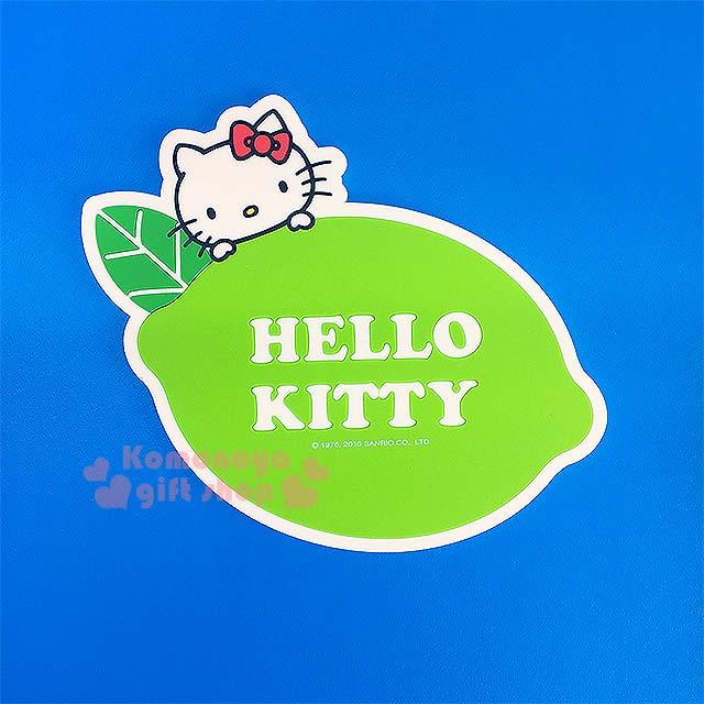 〔小禮堂〕Hello Kitty 造型環保防滑杯墊《綠.大臉.檸檬》生活小物