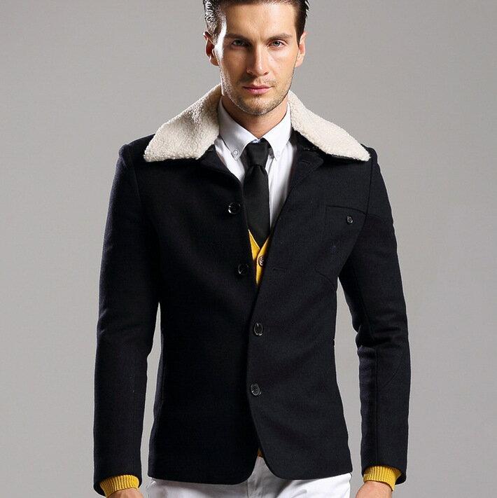 ~毛呢外套 短款大衣~英倫修身紳士男風衣72e45~ ~~米蘭 ~