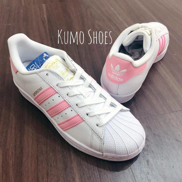 ADIDAS ORIGINALS SUPERSTAR 全白粉紅金標 大童鞋 女鞋