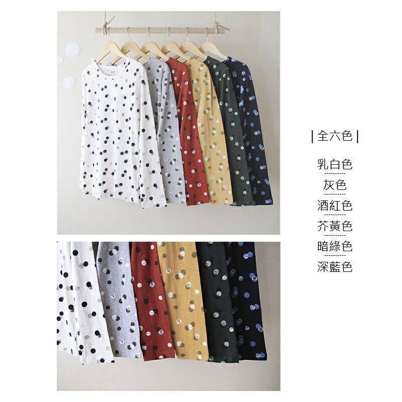 【日本品牌 | Emago】點點花朵圖案 純棉長袖上衣 (全六色) 3