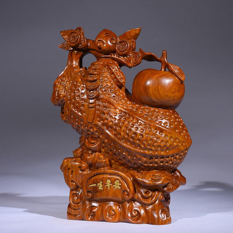 黃花梨木雕花生擺件實木招財平安果家居客廳裝飾品紅木工藝品禮品