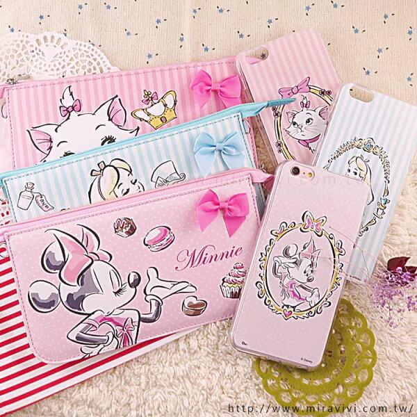 【Disney】迪士尼iPhone66S彩繪保護軟套+手機袋禮盒組-公主系列