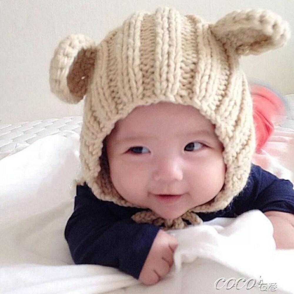 兒童帽 秋冬兒童毛線帽子 純手工男童女童圓耳朵針織帽寶寶帽 coco衣巷 母親節禮物
