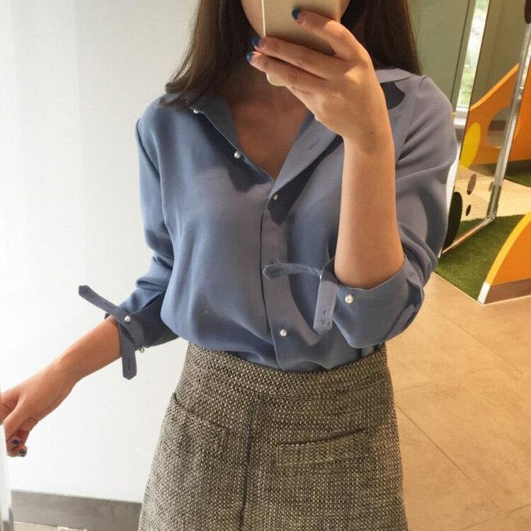 PS Mall 早秋韓國獨特 珍珠扣氣質翻領百搭襯衫~T2839~ ~  好康折扣