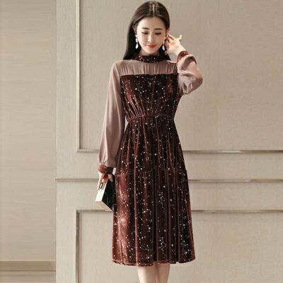連身裙長袖洋裝-星空金絲絨拼接雪紡女連衣裙2色73ri8【獨家進口】【米蘭精品】