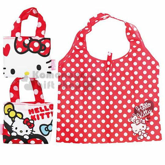 〔小禮堂〕Hello Kitty 環保購物袋《紅白.點點.大臉》可摺疊.附收納包