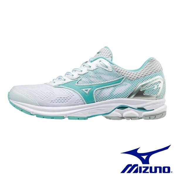 【MIZUNO促銷8折│全店免運】MIZUNO(女)WAVERIDER21一般型慢跑鞋白-J1GD180304