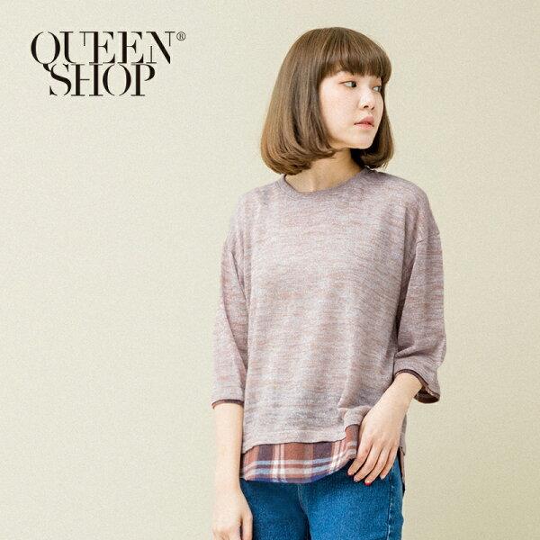 Queen Shop【01130036】格紋拼接造型針織圓領上衣*預購*