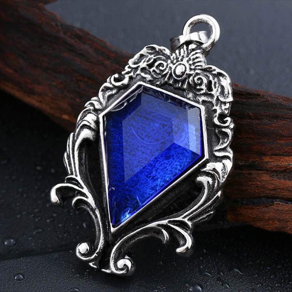 《QBOX》FASHION飾品【C10BP8-141】精緻個性歌德式祈福藍寶石鑄造鈦鋼墬子項鍊