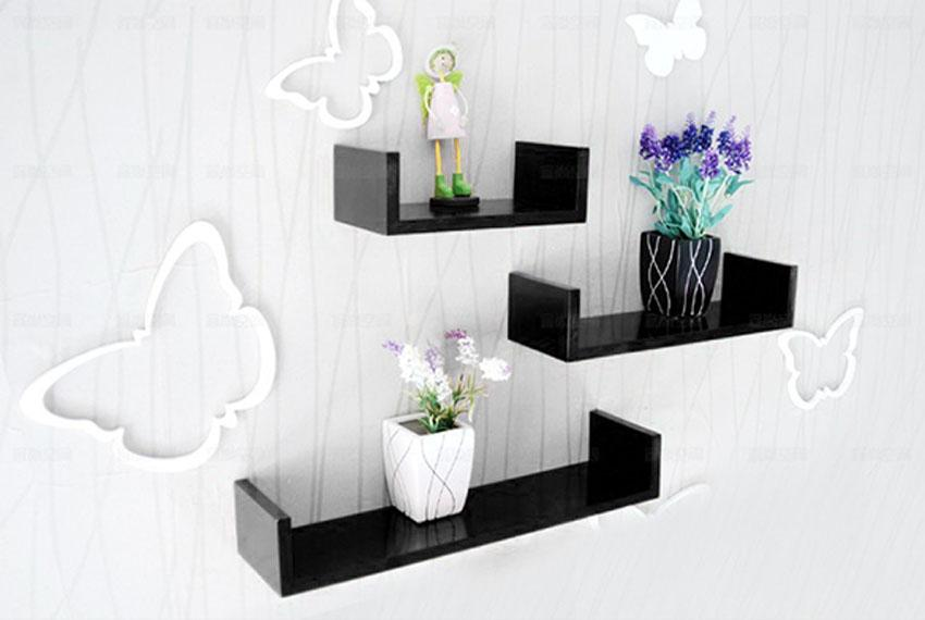 Set of 3 U Shape Floating Wall Shelves Storage Display Shelf Black/White/Red 4