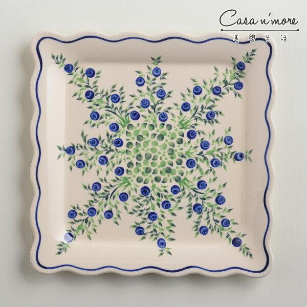 波蘭陶粉紫浪漫系列方形餐盤陶瓷盤菜盤水果盤沙拉盤24cm波蘭手工製