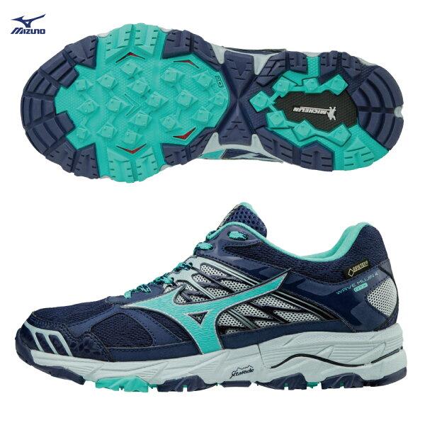 J1GK175733(深藍X湖水綠)GORE-TEX防水透氣WAVEMUJIN4G-TX女戶外慢跑鞋S【美津濃MIZUNO】