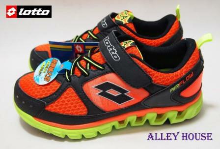 【巷子屋】義大利第一品牌-LOTTO樂得 AIR FLOW童氣動跑鞋 [1283] 橘黑 超值價$450