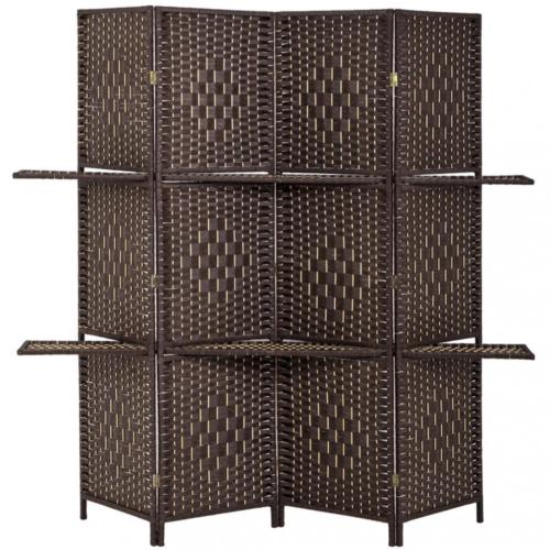 Room Divider 4 Panel Screen Wooden Folding With Removable Shelves 0