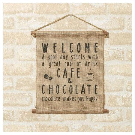 (網購限定)麻質歡迎壁掛裝飾 Welcome cafe