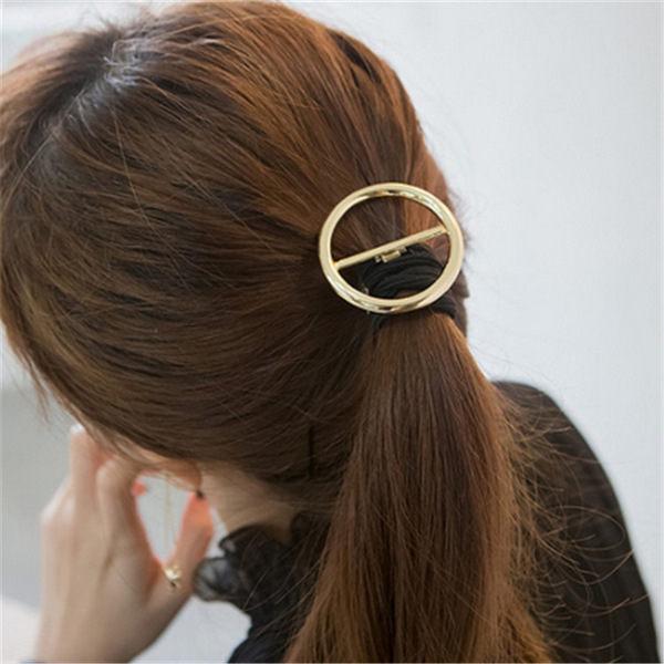 PS Mall 歐美T台 簡約設計金屬鏤空幾何圓圈頭繩 圓形髮圈皮筋【G2011】