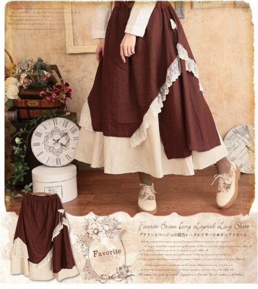中大 ^~lolita公主^~ 寬鬆多層次棉質蕾絲不規則疊層洛麗塔風半身裙長裙公主裙^(M