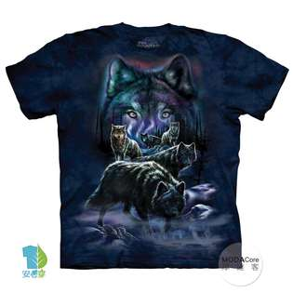 【摩達客】(預購)美國進口TheMountain夜狼群純棉環保藝術中性短袖T恤