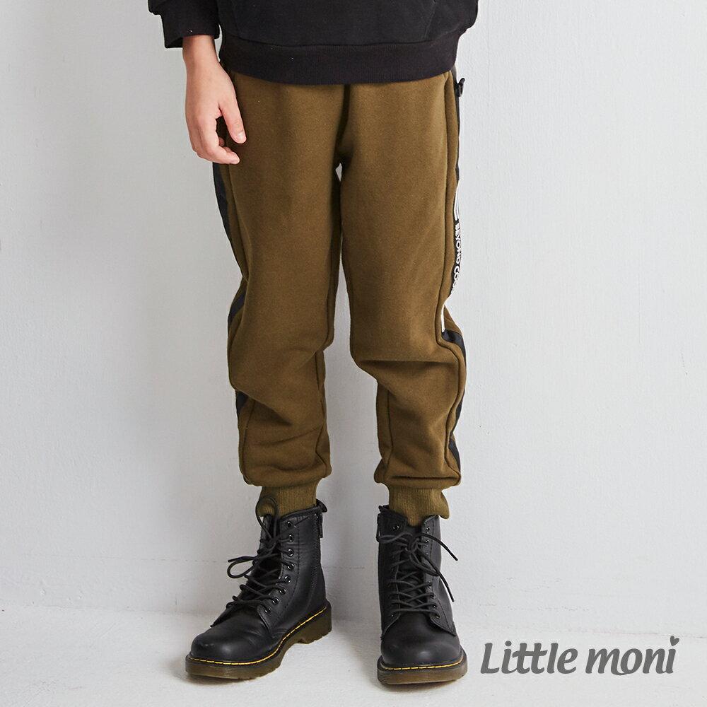 Little moni 厚棉壓條刷毛長褲-軍綠(好窩生活節) 1